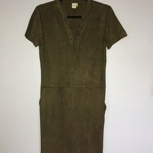 Suede lace up army green dress